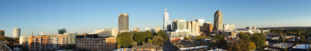 Panorama view of downtown Raleigh NC, facing East near sunset Stock Photo