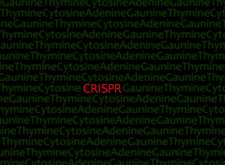 CRISPR (Clustered Regularly Interspaced Short Palindromic Repeats) text in red,  a DNA gene editing method