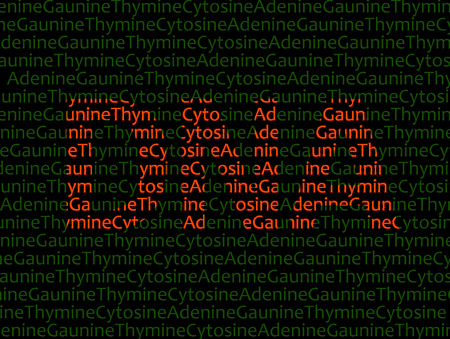 DNA text in red superimposed over Adenine Guanine Thymine Cytosine