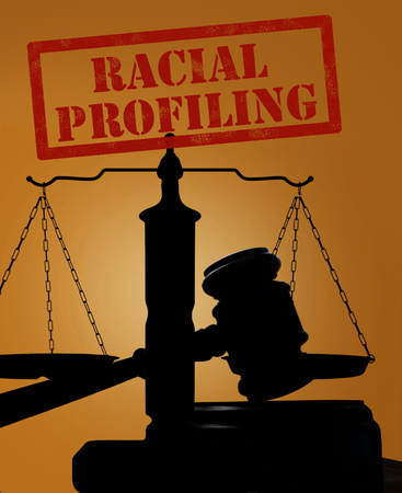 Court gavel and scales of justice silhouette with Racial Profiling text