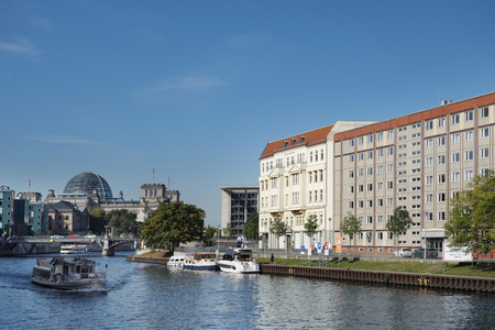 The Spree River in Berlin with the Reichstag glass dome in the background