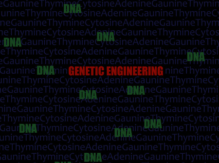 Genetic Engineering text in red with DNA and AGTC background
