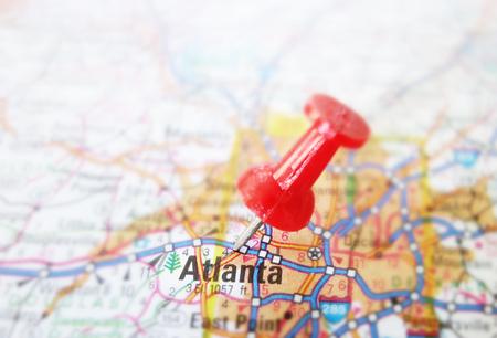 Red tack in a map of Atlanta Georgia