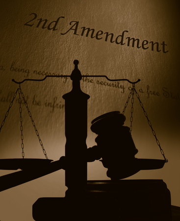 Court gavel and scales of justice silhouette with 2nd Amendment of the US Constitution text Stock fotó