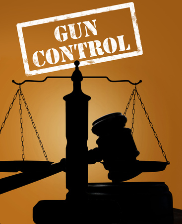 Court gavel and Gun Control text