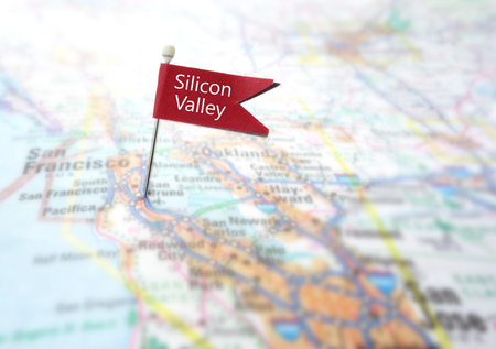 Red Silicon Valley flag locator in a map of Northern California