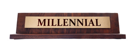 Wooden Millennial nameplate isolated on white
