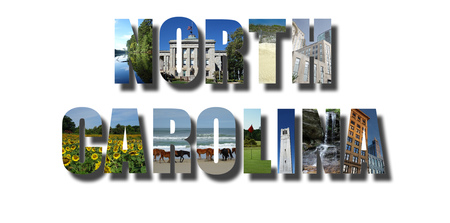 Banner collage of North Carolina images, including NC beaches, mountains and cities, with shadow on white Stock Photo