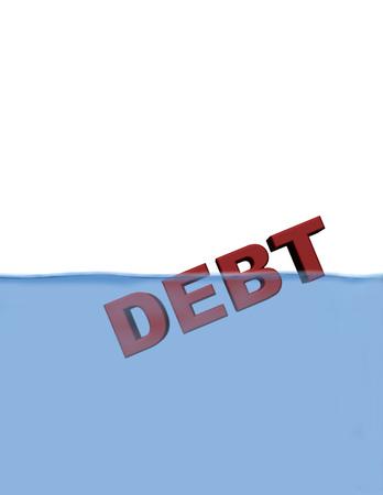 3D Debt illustration floating half under water