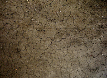Dry and cracked brown dirt dried from the sun