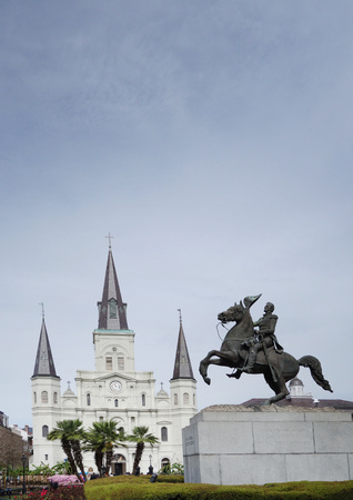 St Louis cathedral and Andrew Jackson statue in the French Quarter, Jackson Square, New Orleans