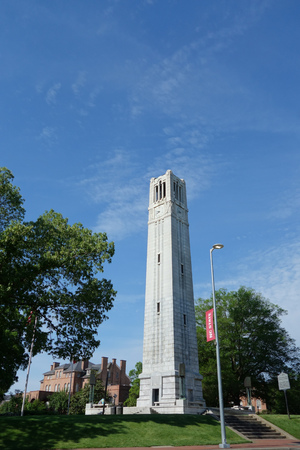 The bell tower on the campus of North Carolina State University in Raleigh