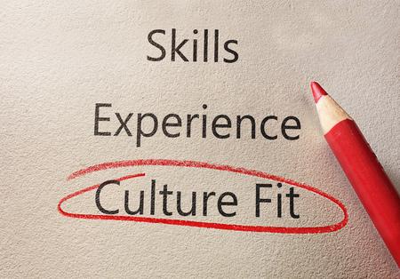 "Culture Fit unter dem Text ""Skills and Experience"" rot eingekreist Standard-Bild"