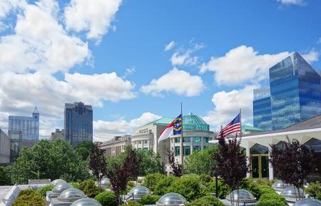 Widok na panoramę centrum w Raleigh North Carolina Zdjęcie Seryjne
