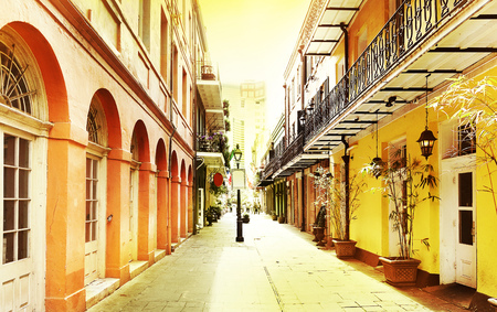 A quiet street in New Orleans French Quarter 写真素材