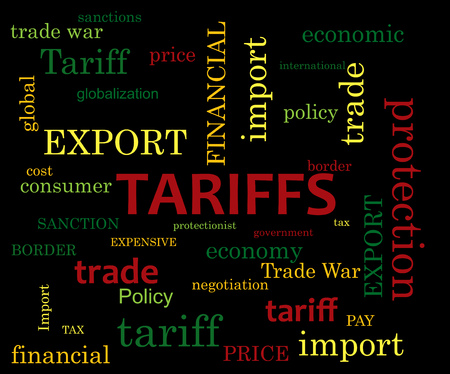 Tariff word cloud on dark background