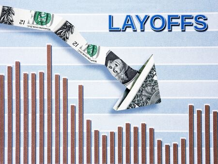 Layoffs text with downward pointing dollar arrow over bar graph