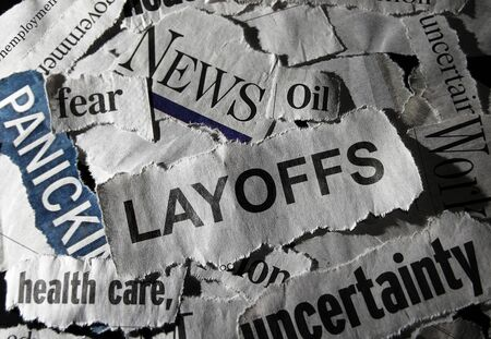 Layoffs headline with other economic related news 版權商用圖片