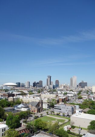 View of the New Orleans skyline with blue sky Stock Photo