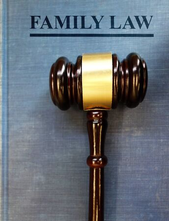 Family Law book with legal gavel -- child custody and divorce concept Stock Photo
