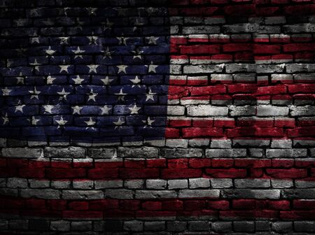 United States flag on a brick wall