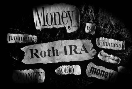 Roth IRA news headlins with other retirement related news items Stockfoto