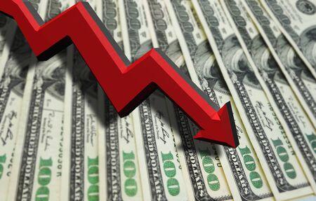 Flecha roja 3D apuntando hacia abajo sobre billetes de cien dólares - concepto de economía o recesión