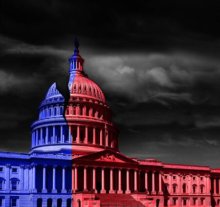 The United States capitol building half red and blue, representing Democrat and Republican political division