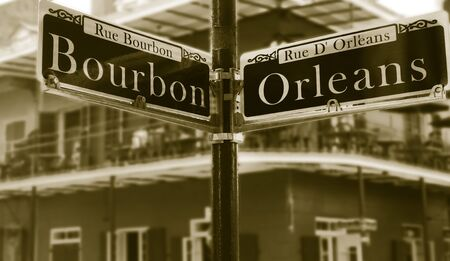 Bourbon Street sign in the heart of the French Quarter in New Orleans