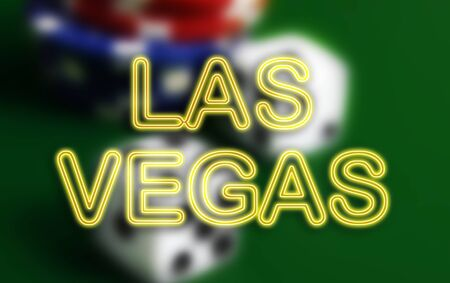 Neon style Las Vegas sign with dice and poker chips casino