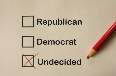 Undecided box checked below Repunlican and Democrat, American election conceptl
