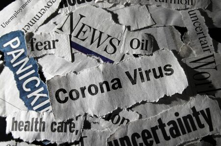 Corona Virus news with assorted negative news headlines surrounding it 스톡 콘텐츠