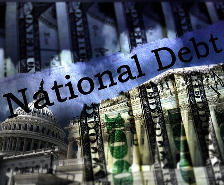 The US Capitol in Washington DC with National Debt text and hundred dollar bills