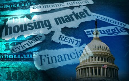 Rent, Evictions and other assorted CoronaVirus economic news headlines with US Capitol and money