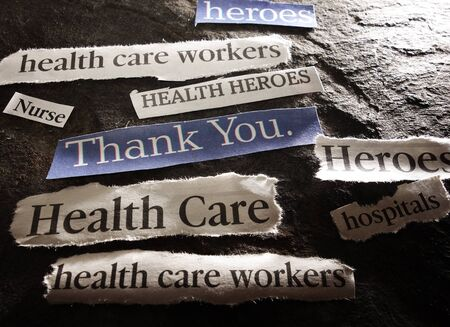 News headlines with Thank You message for hero healthcare workers during the Coronavirus pandemic 免版税图像