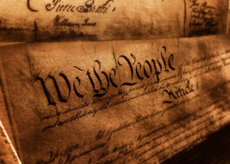 The United States Constitution, with We The People and Article 1 text 免版税图像