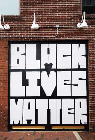 RALEIGH,NC/USA - 6-09-2020: Black Lives Matter mural in downtown Raleigh after several days of protests following the killing of George Floyd by Minneapolis police 新闻类图片