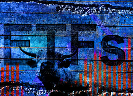 ETFs ( Exchange Traded Funds ) text and bull wit stock chart on rustic stone background