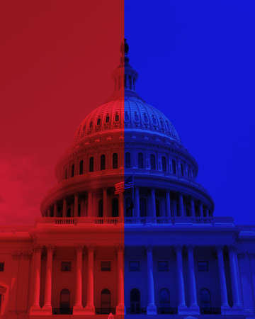 The US Capitol dome in Washington DC with half red and half blue, signifying the Democratic and Republican party split in Congress