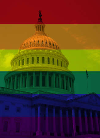 Rainbow flag colors over the US Capitol in Washington DC, LGBTQ rights concept 免版税图像