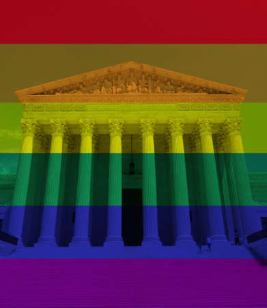 LGBTQ rainbow flag colors with the US Supreme Court in Washington DC -- gender equality concept