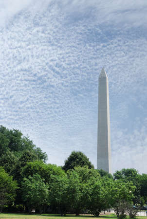 The Washington Monument surrounded by trees in summer on the National Mall in Washington DC