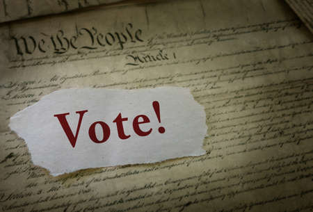 Vote text paper election message on the United States Constitution
