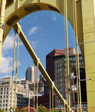 PITTSBURGH,PA/USA - 7-31-2017: Bridge view of the Pittsburgh downtown skyline
