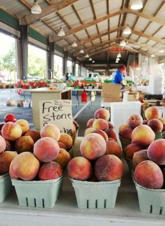 Fresh free stone peaches for sale at the North Carolina State Farmers Market in Raleigh, NC.