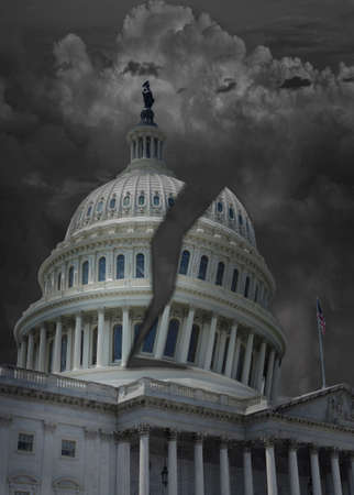 The US Capitol building in Washington DC with dark storm clouds and its dome split in half representing division in politics Standard-Bild