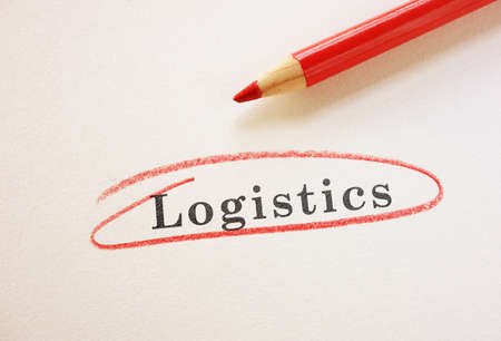 Logistics text circled in red pencil Standard-Bild