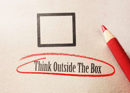 Think outside the box quote circled in red pencil