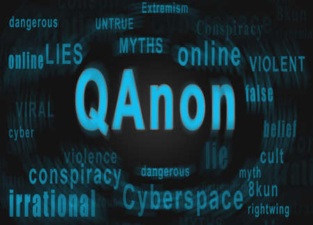 Spinning blurred QAnon word cloud text describing the rightwing extremist conspiracy theory