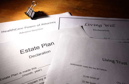 Estate planning documents : Living Trust, Living Will, Healthcare Power of Attorney Standard-Bild